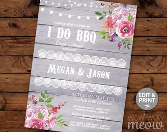 I Do BBQ Invitation Couple's Shower Printable Invite Engagement Party INSTANT Download Lights Grey Wood Floral Lace Personalize Editable