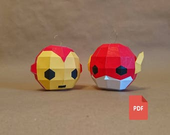 Papercraft Flash and Iron Man Classic - Set of 2 Christmas Tree toys, digital template,PDF, Lowpoly DIY,Christmas decorations,Xmas Tree Toys