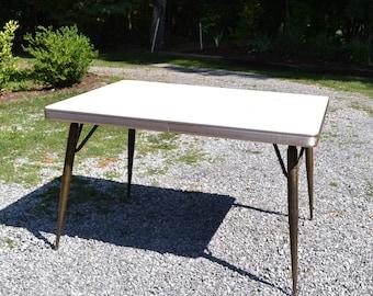 Retro Formica Kitchen Table Aged Brass Metal Legs Beige Woodgrain Top Chrome Apron Extendible Panchosporch