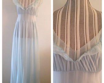 Vintage Blue Nylon Ruffled Nightgown