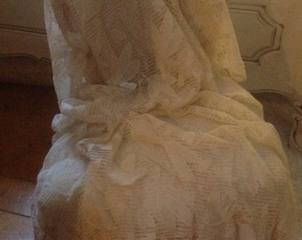 Lace Bedspread Elegant Vintage French Filet Lace. Frill on the Two Floor Edges .Ideal for a Shabby Chic Double Bed.