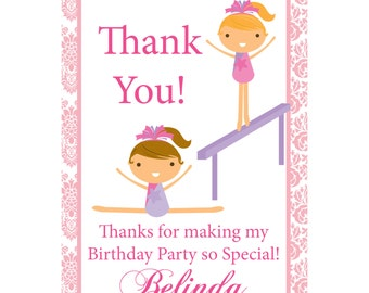 Gymnastics Thank You Card - Adorable Gym, Pastel Pink Damask Girl Gymnast Personalized Birthday Party Thank You - a Digital Printable File