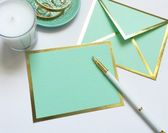 Blank Mint Green Card with Gold Foil Bordered Envelope