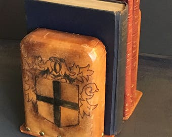 Bookends Faux Leather Coat of Arms Sheild with Cross Brass Tacks
