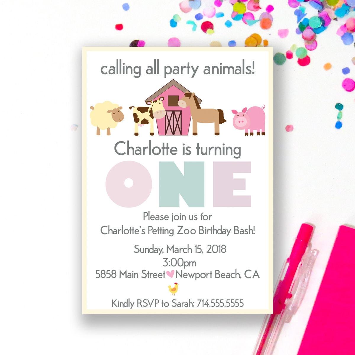 Girl Barnyard Birthday Invitation Petting Zoo Invite Girl