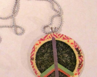 Repurposed Pog Peace Necklace