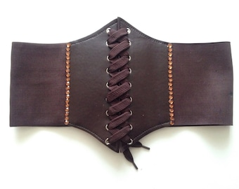Brown Faux Leather Clinch Belt