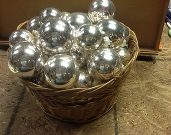 Vintage Silver Glass Christmas Ornaments