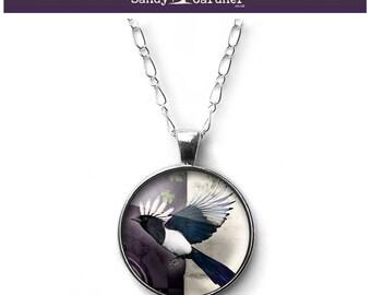 Magpie, magpie necklace, magpie spirit animal, magpie pendant, Magic of the Magpie necklace pendant