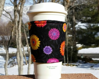 Fabric coffee cozy / cup sleeve / coffee sleeve  / teacher gift / Orange purple fuchsia daisies on black