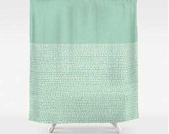 Pantone color hemlock shower curtain in green, pantone colors, modern bathroom decor, calming zen bath decor in pale green, celadon