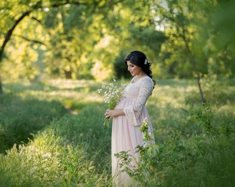 Maternity Dress for Photo Shoot-Lace Maternity Gown for Photo Shoot-Maternity Photo Prop-Blush Pink Maternity Dress for Baby Shower-MARLENA