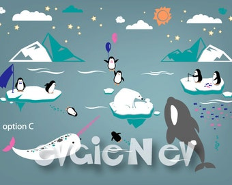 Nursery Wall Stickers - Penguin, Bear Cubs, Orca Whale, Narwhal Vinyl Wall Decals - Arctic and Antarctic Animals Friends - PLRFR010