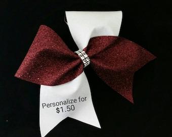 Maroon cheer bow, Cheer bow, White Cheer bow, Glitter cheer bow, cheerleader bow, cheerleading bow, cheer bows, softball bow, dance bow, bow