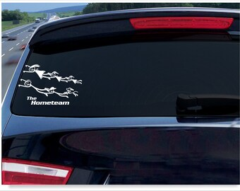 funny stick figure decal, Mom Dad Daughter Son Dog window graphic, cute stick family car humor sticker, unique leadfoot flying vinyl decal
