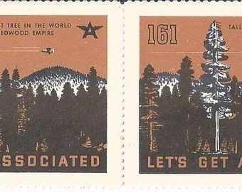 "Tydol Flying ""A""  Gas  ""Lets Get Associated"" Tallest Tree in the World Poster Stamps 1930's"