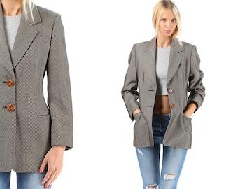 Mini Coat Jacket 80s Herringbone Tweed Wool GIANFRANCO FERRE Brown Beige Classic Blazer Lined Fitted Women European Quality Medium SKU 5179