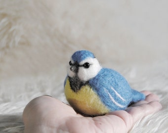 Needle Felted Blue Tit, Handmade Bird, Cute Felt Blue Tit, Birds Home Decor- READY TO SHIP