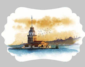 Maiden's Tower Istanbul UV Printed MDF Wall Decor, Wood Decor