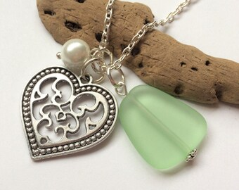 Peridot Green Sea Glass Necklace, Orangle Beach Glass Necklace, Sea Glass Jewelry, Beach Glass Jewelry, Heart Charm Necklace.  FREE SHIP