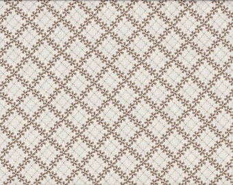 Cream Floral Plaid 100% Cotton Fabric Sold by Half Yard (21972)