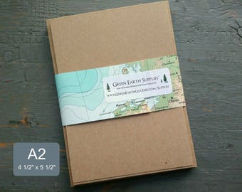 """100 Eco Friendly, Rustic A2 Kraft or Light Brown FLAT Blank Save the Date or RSVP Cards & Envelopes, Recycled, 4 1/4 x 5 1/2"""", 65lb-105lb"""