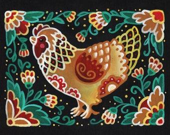 Chicken Folk Art Print, Wall Art, Home Decor, 6x8