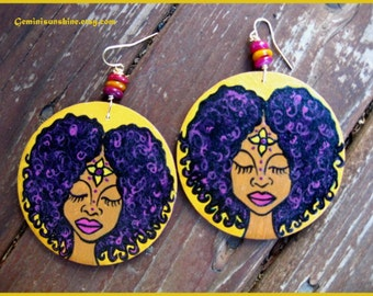 Curly Fro Hand Painted Earrings