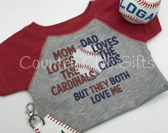 House Divided, Cardinals, Cubs t shirt, baseball shirt. bodysuit shirt, baby gift, sports rivals, team,  baby girl, baby boy