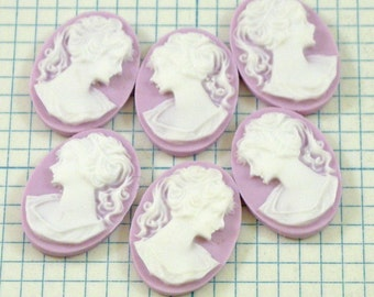6 18x13mm Cameos - Lady - Lilac and White