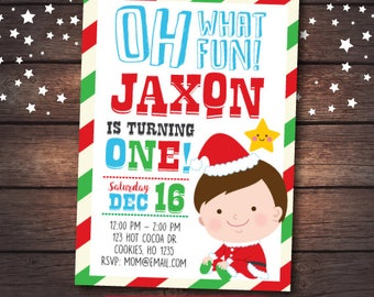 Christmas first birthday Invitation, Little Santa Invitation, Christmas Birthday Invitation, Christmas Invitation, DIGITAL