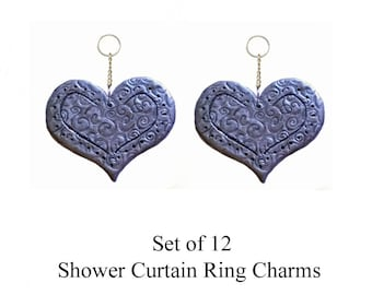 Decorative Shower Curtain Ring Charms... Filigree Hearts