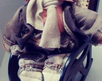 Sewn Rag Doll on Rocking Chair