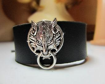 Fenrir Wolf Black Leather Cuff