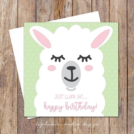 Just llama say birthday card funny birthday card birthday like this item bookmarktalkfo Choice Image