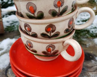 Cups of Joy Vintage German Zell Schmider Porischka Cups and Saucers 70s Mid Century  Coffee Cups Tea Cups Set of 3 Shipping Included