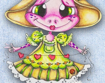 INSTANT DOWNLOAD Digital Digi Stamps Big Eye Big Head Dolls NEW My Besties Pink les Frog img576 Fairy Bestie By Sherri Baldy