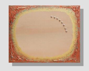 Tableau magnétique cuivré. Peinture à l'acrylique sur châssis magnétique entoilé, cuivre, or, turquoise, beige. Pense-bête. Porte-photos.