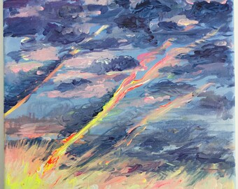 CAPTURE THE SUN. Abstract landscape painting to buy from the artist. Only one of its kind available.
