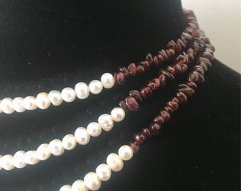 Pearl and Garnet Necklace