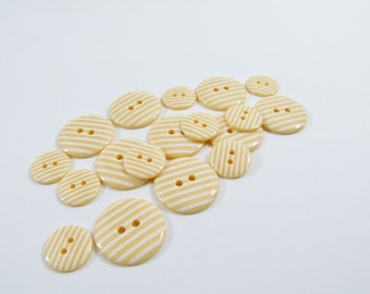 Candy Stripe Buttons - Pastel Yellow [B0020] Sewing Buttons / Knitting Buttons / Craft Buttons / Button Supplies UK