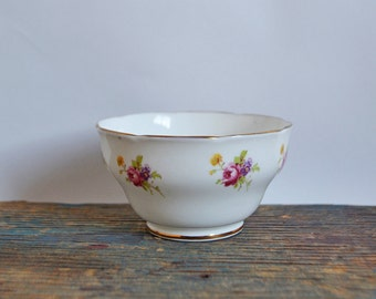 Vintage Adderley China sugar bowl with pink flower bouquets