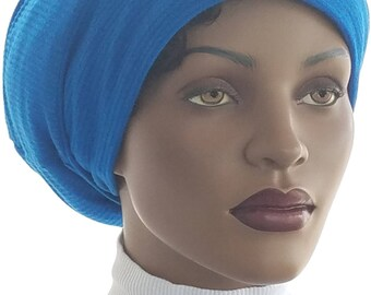 Huggee Locks Beanie™ Cap Hat Rich Blue Sweater Cable Knit Rasta Locks Tam Rastafari Dreadie Handmade