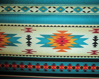 Navajo Teal Gold Traditonal Border Cotton Fabric Fat Quarter Or Custom Listing