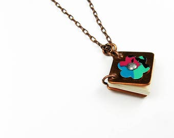 Wearable Book Necklace - Reversible Mini Book Pendant - Reader Gift