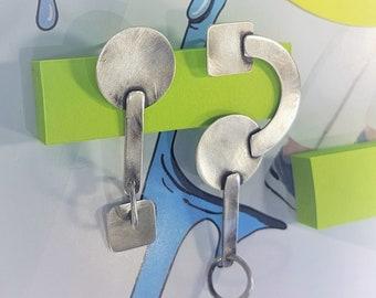 geometric earrings | large mismatched earrings | statement earrings | cool Jewelry | long dangling earrings | sterling silver earrings OOAK