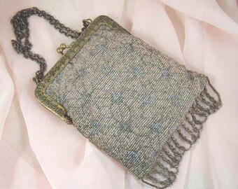 French Art Deco Rose and Steel Cut Bead Purse Vintage 1920s Evening Bag