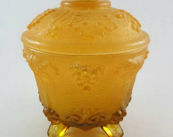 Vintage Amberina Jeanette Grape Footed Bowl with lid