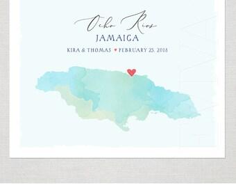 Jamaica Custom Wedding Print Destination Wedding Gift Memento Couple print alternative Signature Guest Books Jamaica Map