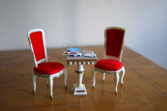 Vintage Petite Princess Dollhouse Chairs & Table - Miniatures, Fairy House, Mid Century